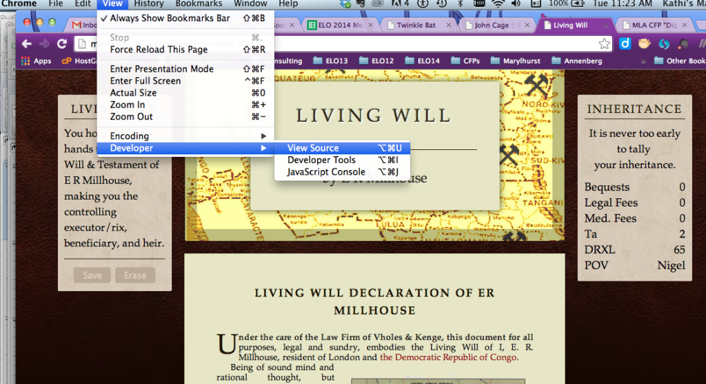 Access Living Will: http://markcmarino.com/tales/livingwill.html