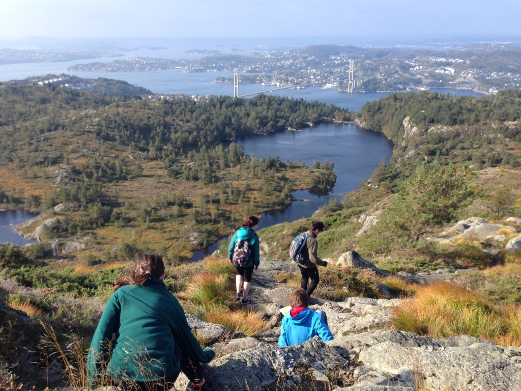 Hiking Lyderhorn, one of the 7 mountains ringing Bergen.