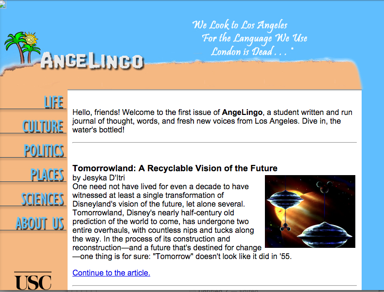Launched spring 2004, each page of AngeLingo had to be hand-coded in HTML.  Cascading Style Sheets hadn't been invented yet!